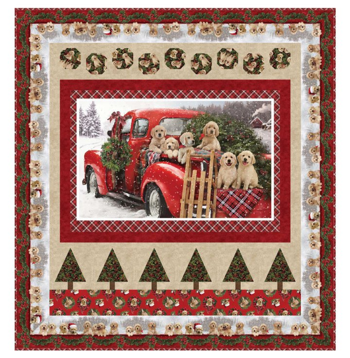Northcott Santa Helpers Memory Lane Pattern PTN2641 Large Throw 61 x 65