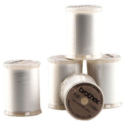 Brother Embroidery Bobbin Thread - White 60 weight 1100 Meters SAEBT