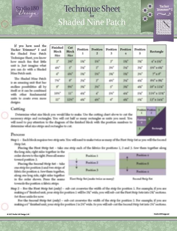 Tucker University Technique Sheet- Shaded Nine Patch DTEC16