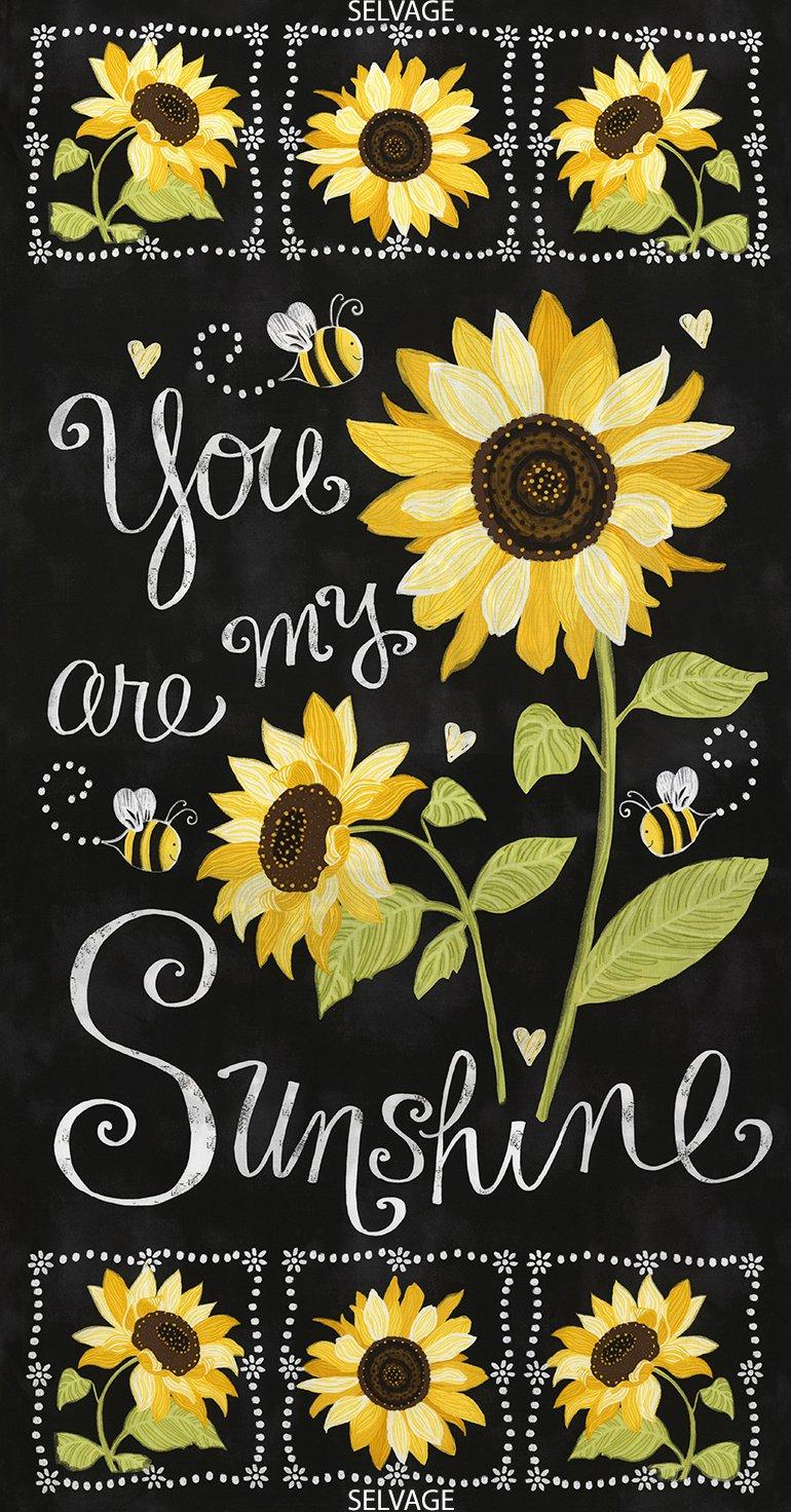 Timeless Treasures Sunflower Chalkboard 24 Panel Gail C5344 Black