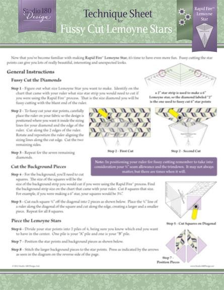 Tucker University Technique Sheet - Fussy Cut Lemoyne StarsDTEC06