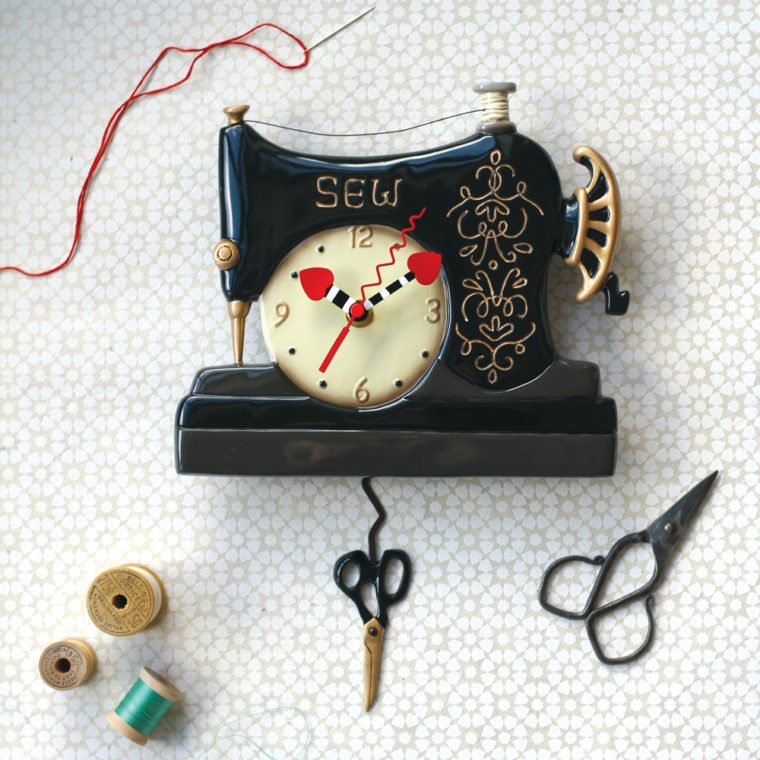 Allen Designs Vintage Stitch Pendulum Wall Clock