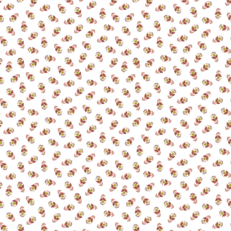 Benartex Soulshine & Daydreams by Kelly Rae Roberts 10351 02 Coral Tossed Flowers $11.40/yd