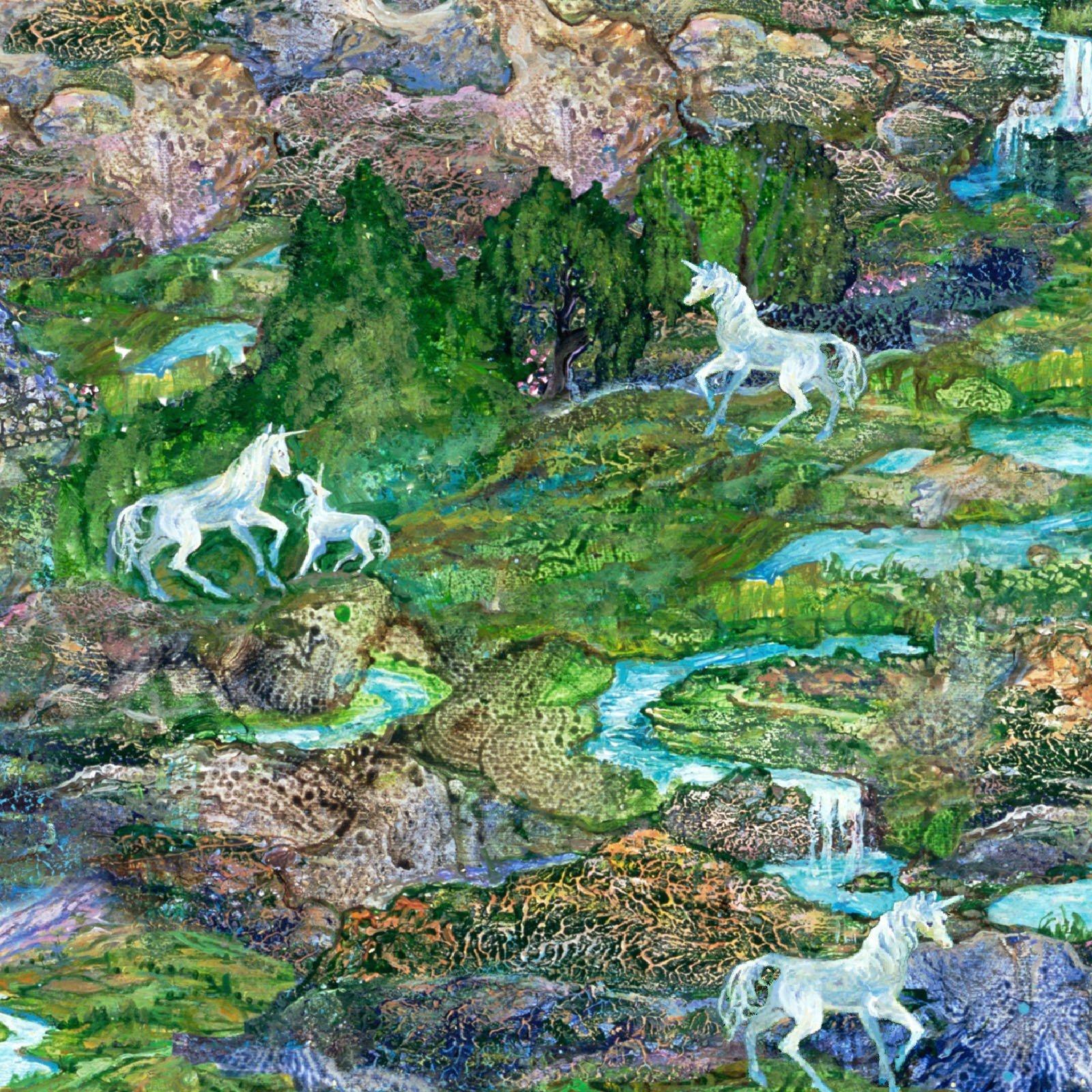 3 Wishes Celestial Journey by Josephine Wall 17136 GRN Landscape $12.20/yd