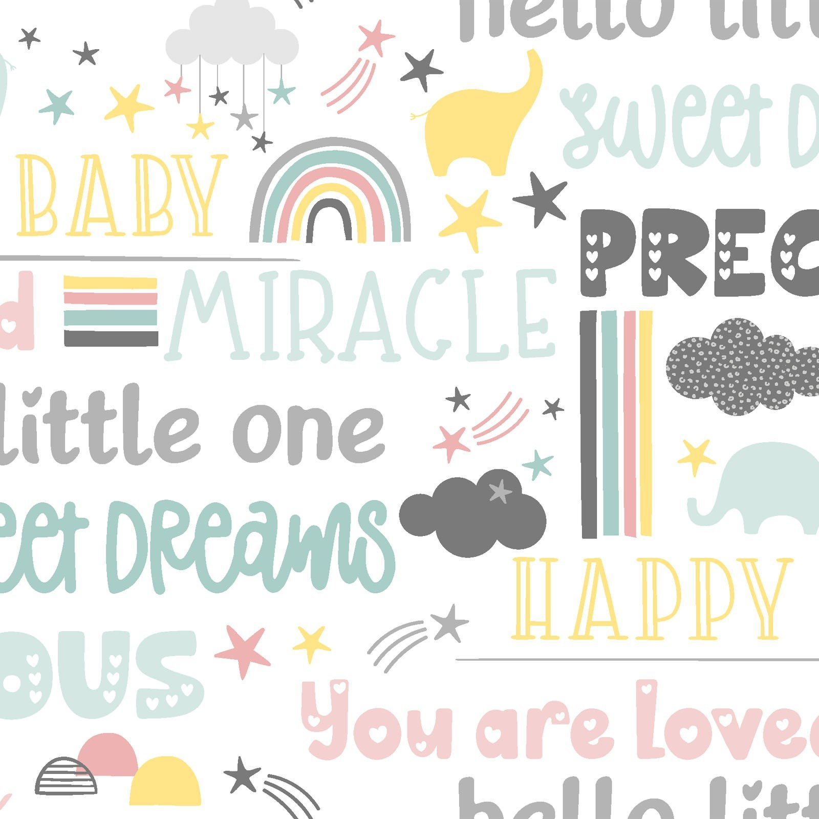 3 Wishes Small & Mighty FLANNEL by Angela Nickeas 17159 WHT White Sweet Words $6.99/yd