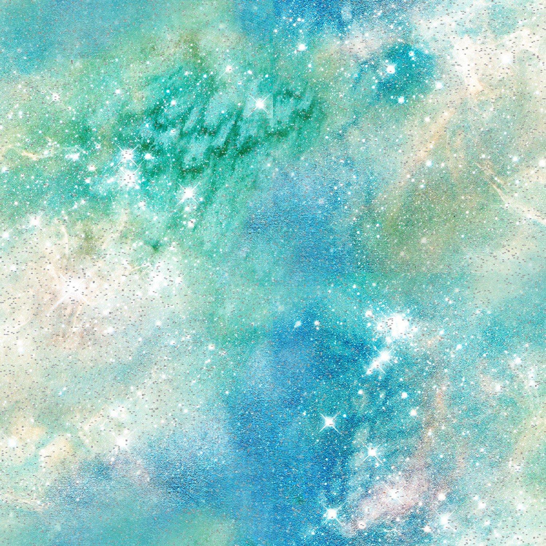 3 Wishes Magical Galaxy by Connie Haley 17166 GRN Green Airglow Sky w/Glitter $8.50/yd