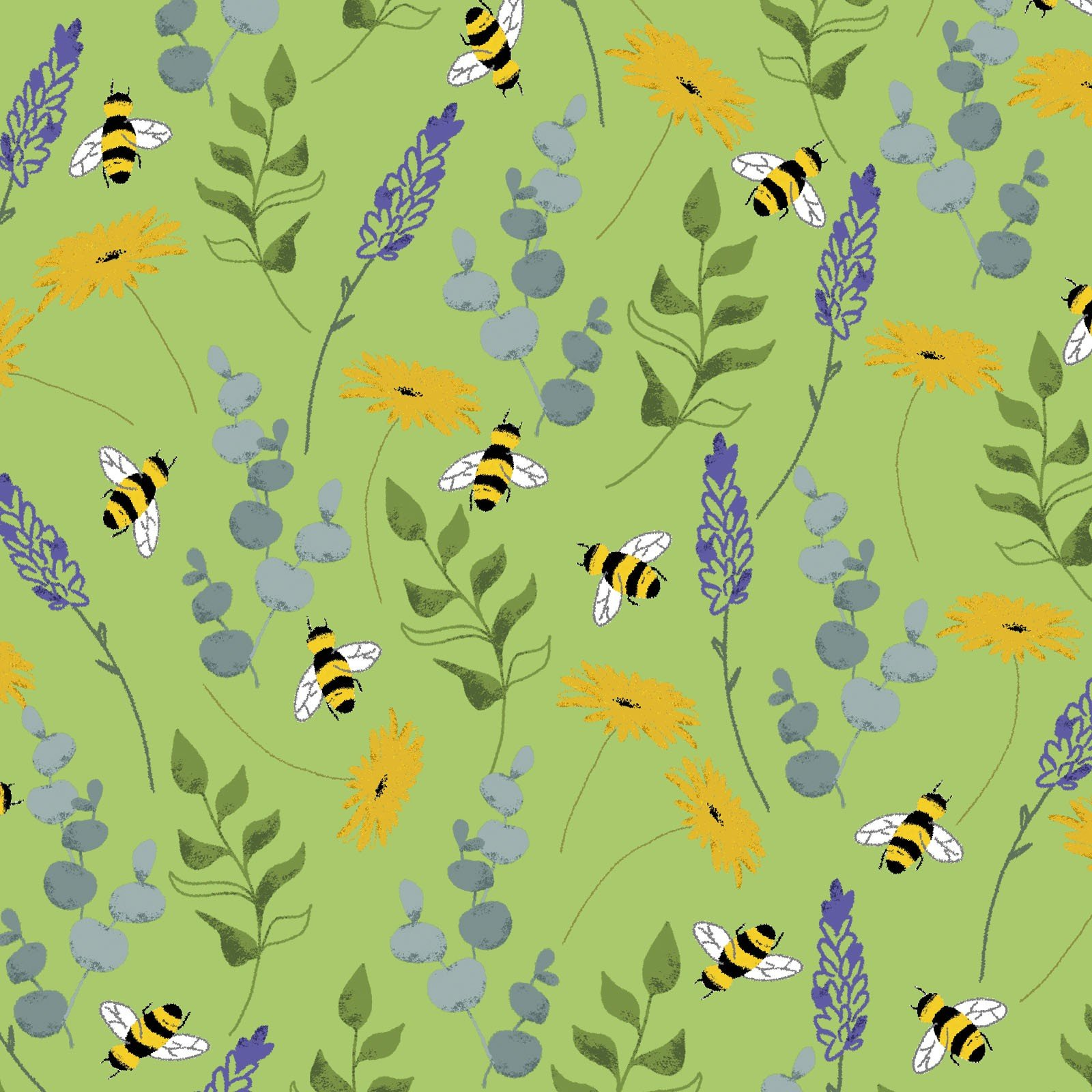 3 Wishes Feed the Bees by Deanne Beasley 17216 GRN Green Wild Flowers $8.30/yd