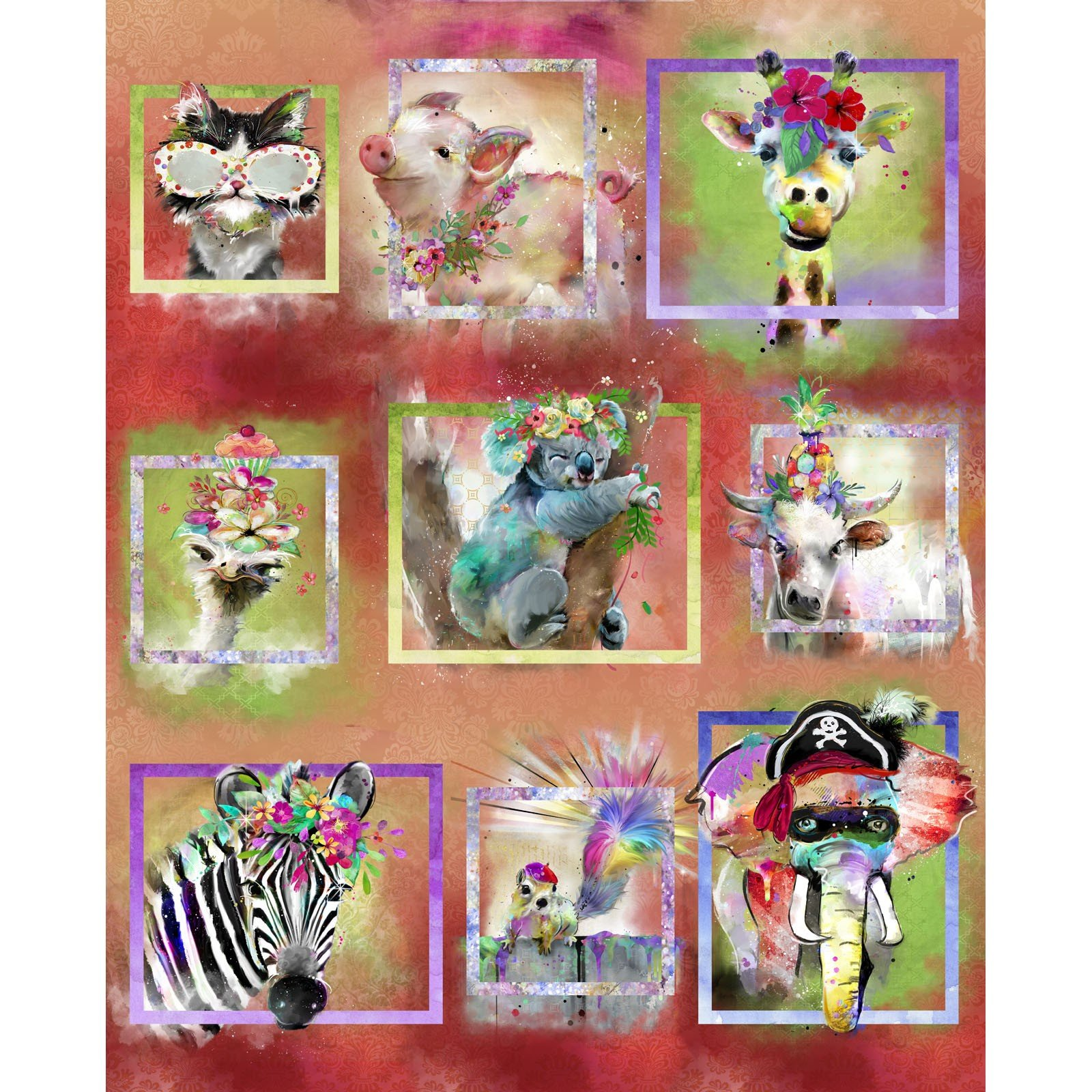 3 Wishes Party Animals 17318 MLT Framed Panel $12.20/yd