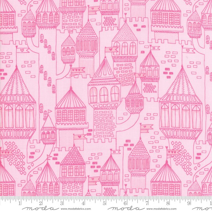 Moda Once Upon A Time By Stacy Iest Hsu 20595 12 Pink Tonal Castles 10 40 Yd