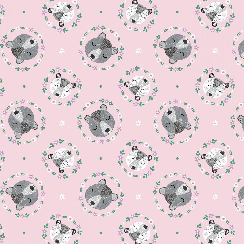 Camelot Bear Hugs 21181502 3 Pink Bear Wreaths  $10.20/yd