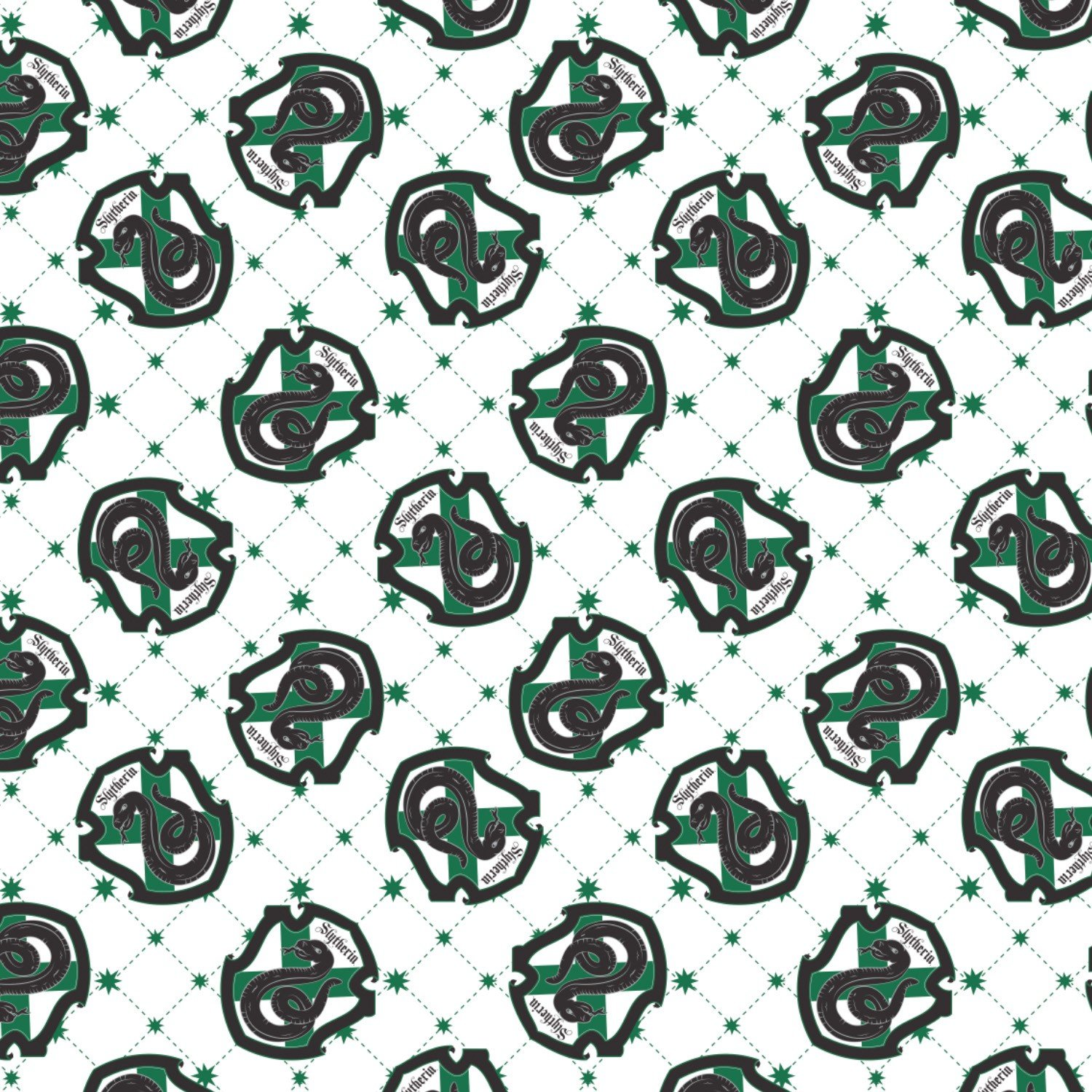 Camelot Wizarding World - Harry Potter 23800111 1 White Slytherin House Pride $11.50/yd