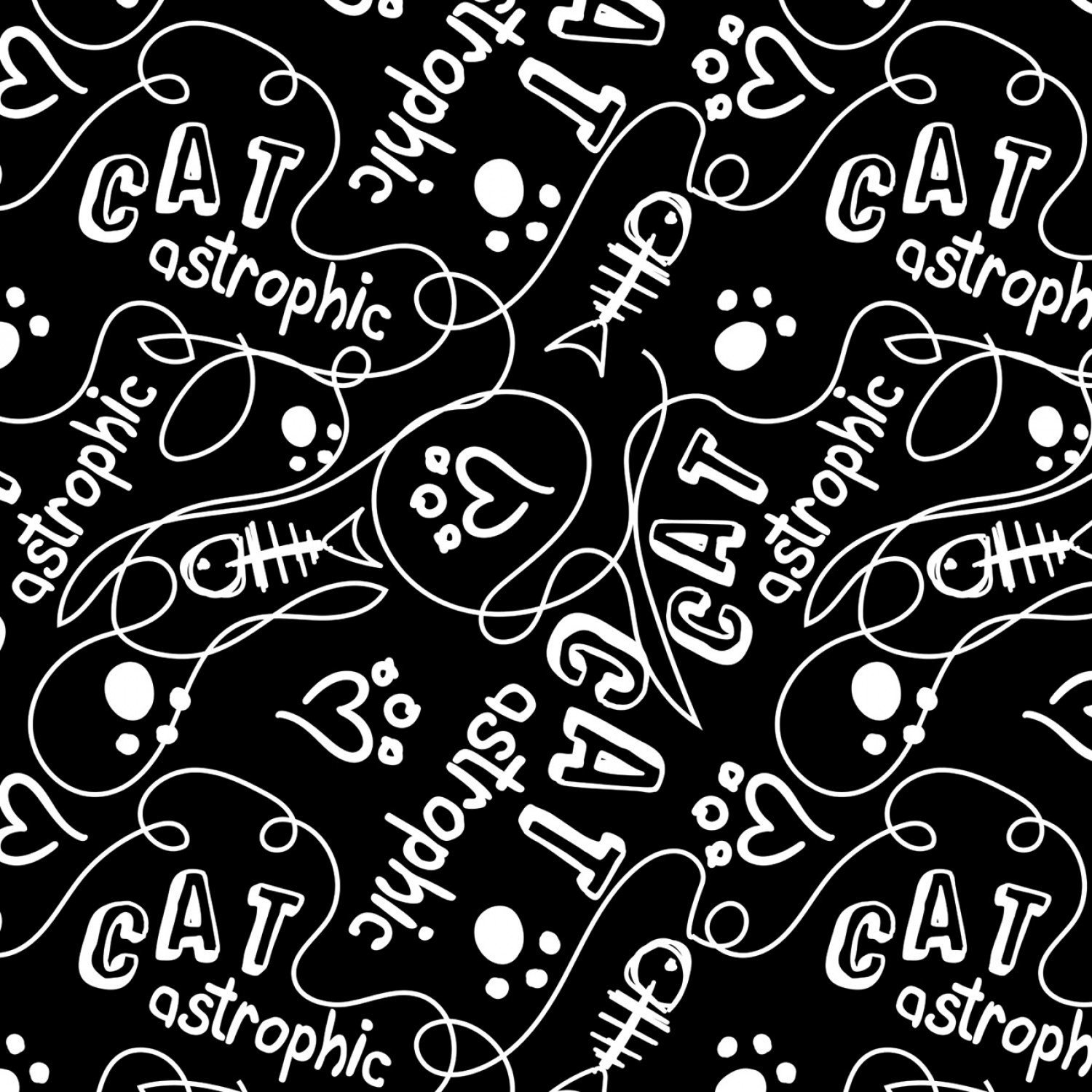 Camelot Fabrics Cats Rule by Rachael Hale 34180107 2 Black Catastrophic $10.20/yd