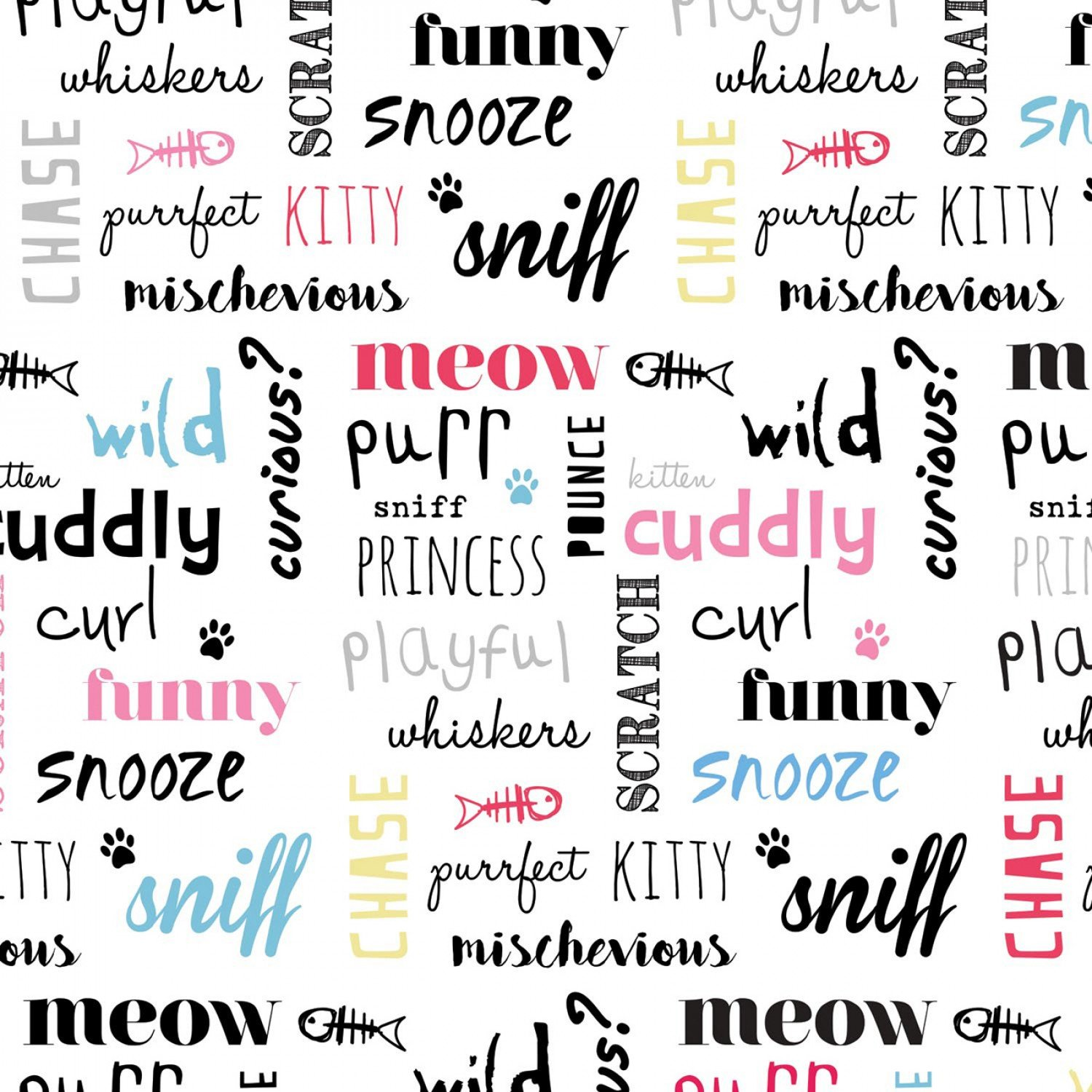 Camelot Fabrics Cats Rule by Rachael Hale 34180104 1 Multi Kitty Quotes $10.20/yd