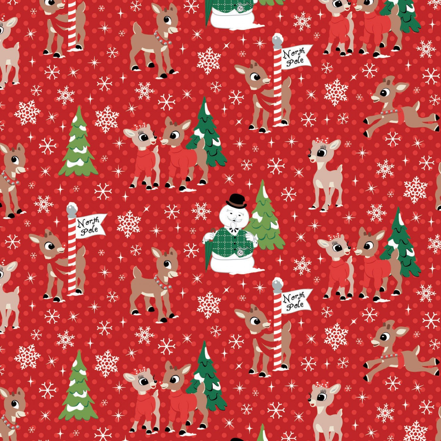 Camelot Character Winter Holiday Collection 62010203 1 Red Christmas Rudoph & Friends North Pole $13.45/yd