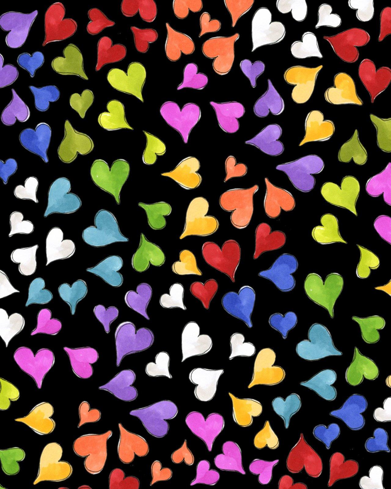 Loralie Cat Happy 692 430 Black Happy Hearts $10.99/yd