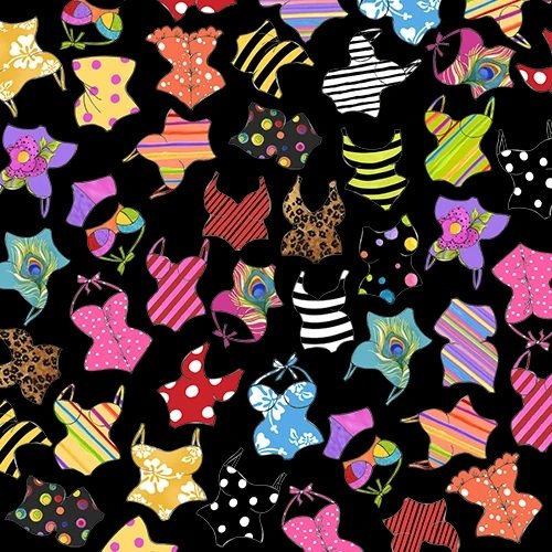 Loralie Beauty Beach 692 441 Black Assorted Suits $10.99/yd