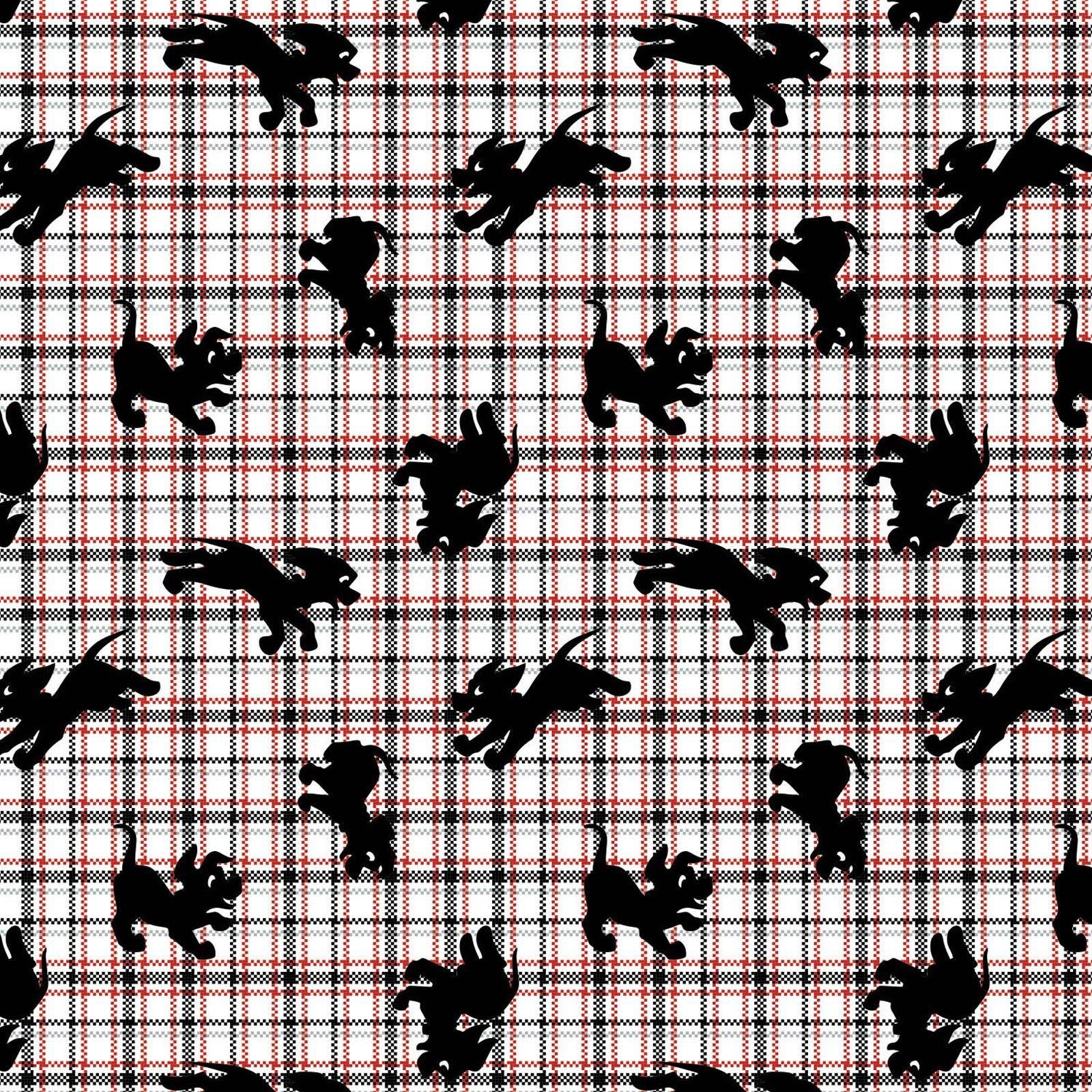 Camelot Fabrics Disney 101 Dalmatians Family Portrait 85010202 2 Puppy Plaid $11.50/yd