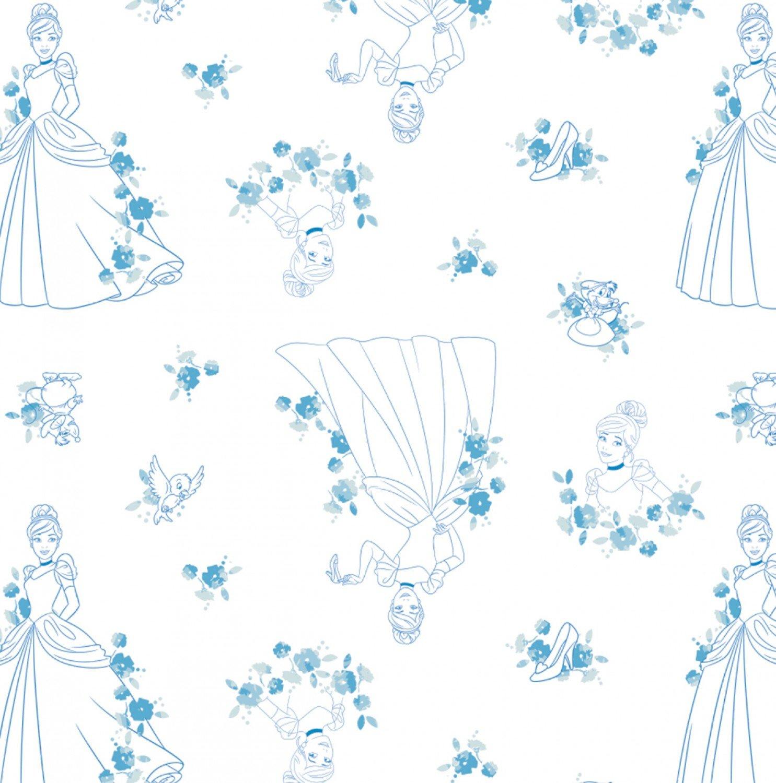 Camelot Disney Princess Forever 85100517 1 Blue Cinderella Toile $11.50/yd