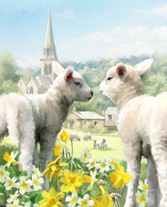 David Textiles Digital Prints - AL 3842 Easter Lambs Panel $11.40/yd