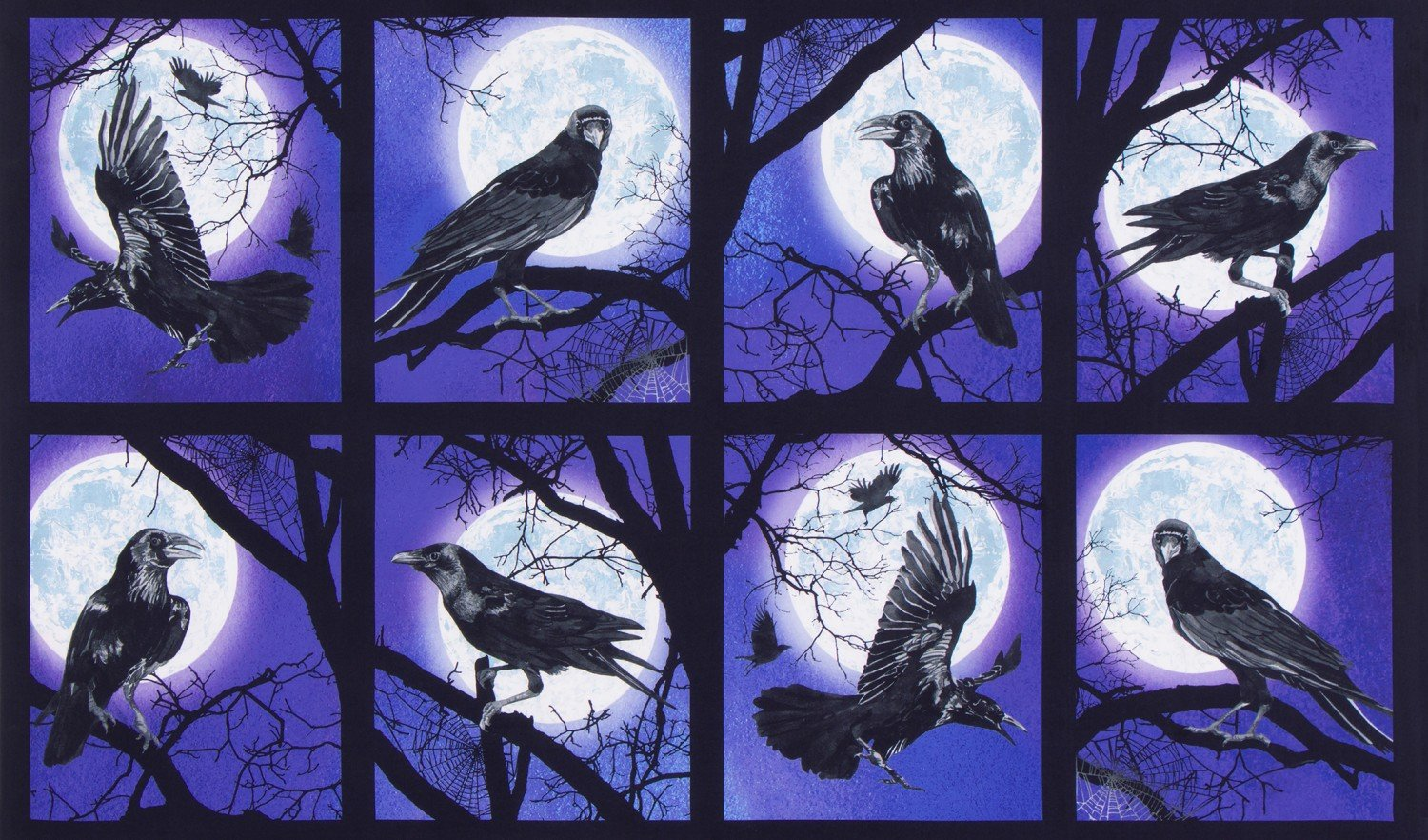 "Robert Kaufman Raven Moon by Lynnea Washburn AWHD 18484 282 Raven 24/"" Panel"