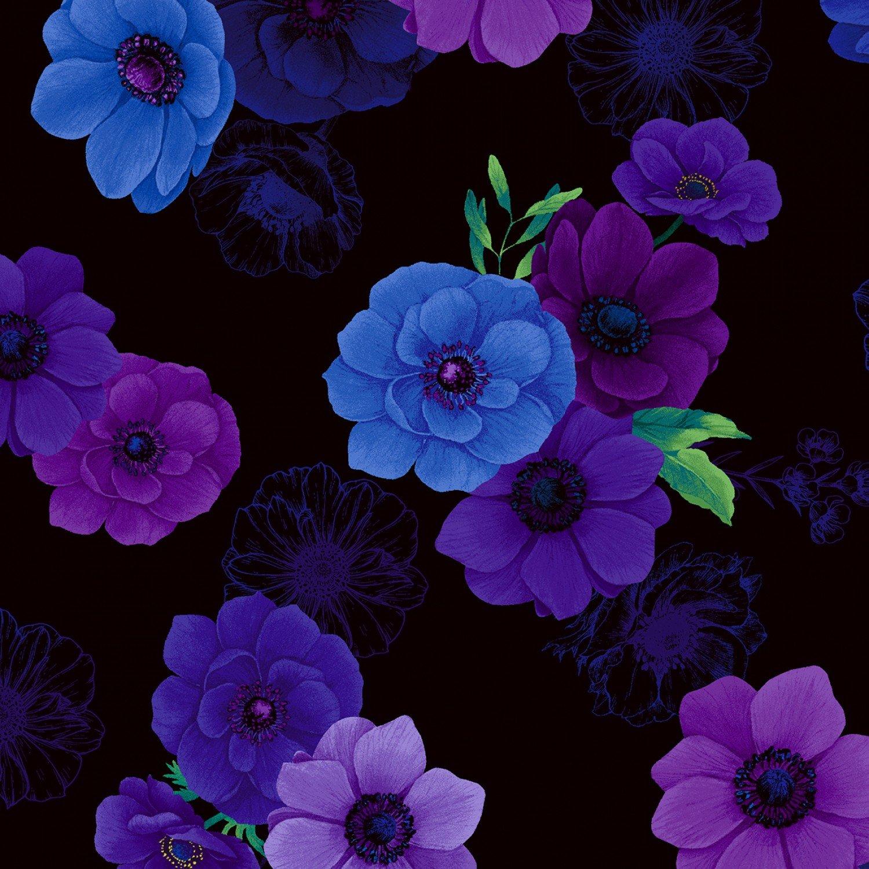 Timeless Treasures Misty Digital by Chong-A Hwang CD6844 Black Flower Toss