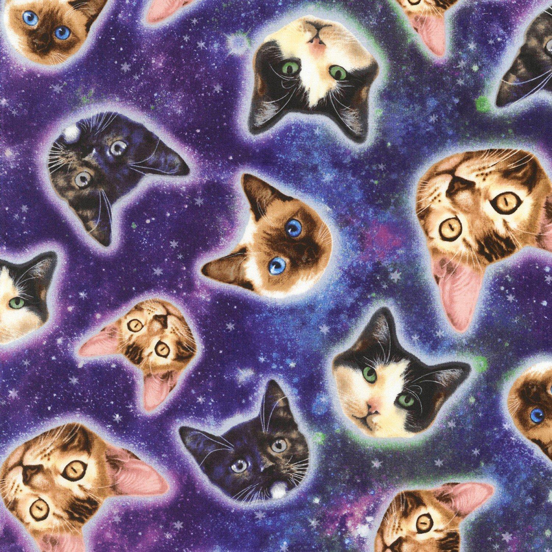 b834b74b9ae Timeless Treasures KNITS CS5393 Galaxy Cat Heads $12.99/yd