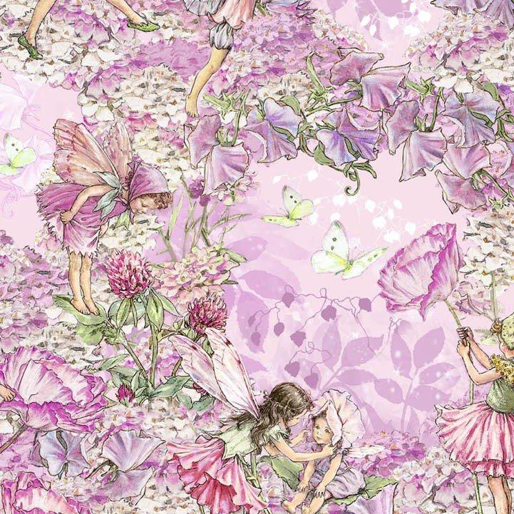 Michael Miller Magical Flower Fairy DC4213 Purple Toile Cotton Fabric FREE SHIP