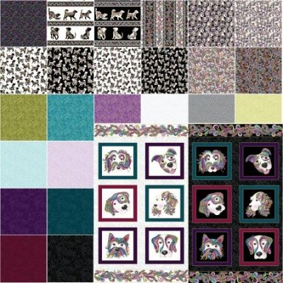 Benartex Dog On It by Ann Lauer ONE YARD set + 2 panels (28 pieces total) $275.00/set of 28