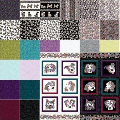 Benartex Dog On It by Ann Lauer HALF YARD set + 2 panels (28 pieces total) $145.00/set of 28