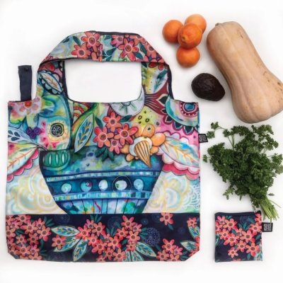 Allen Designs NEW! FLOWERBLAST FABRIC BAG / SHOPPING TOTE FB204 $12.95