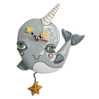 Allen Designs NARLY NARWHAL Clock P1924 $60/ each NO INTERNATIONAL SHIPPING