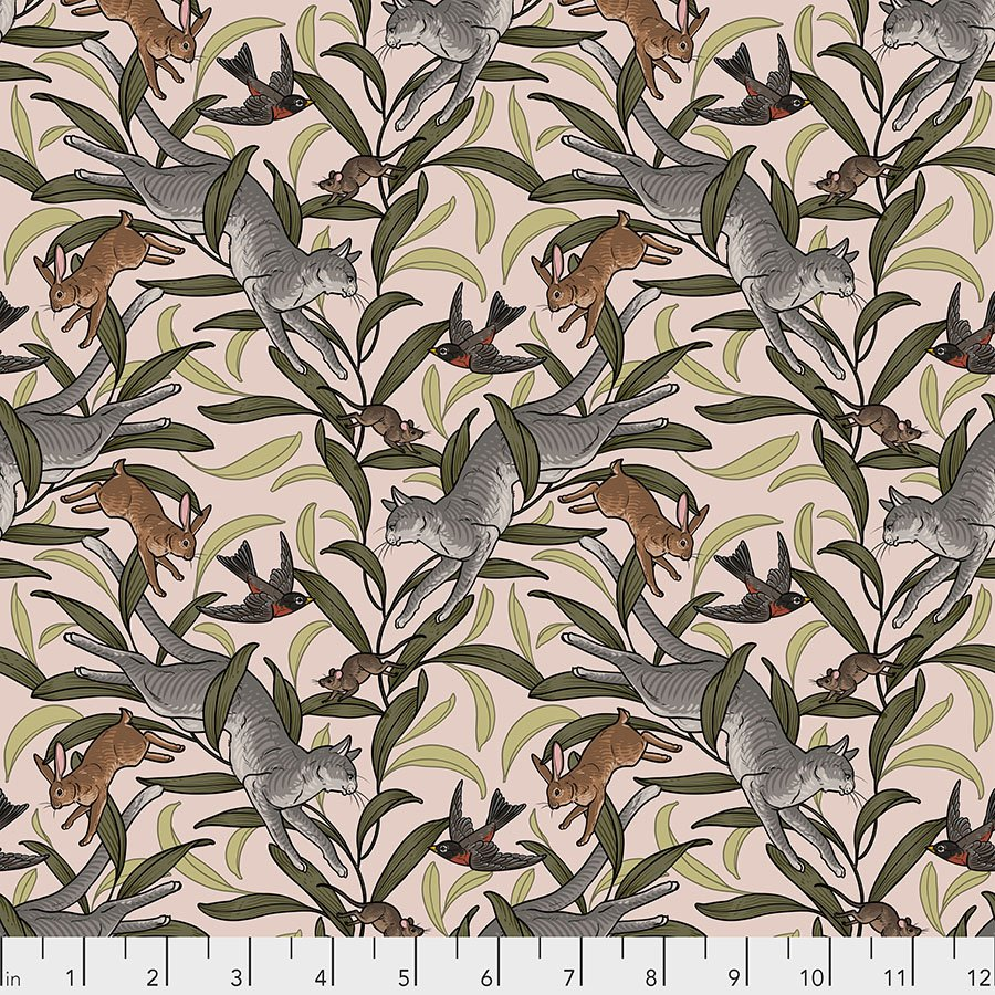 Free Spirit Cat Tales by Rachel Hauer PWRH003 NATURAL On the Prowl $10.99/yd PREORDER DUE NOV/DEC '20
