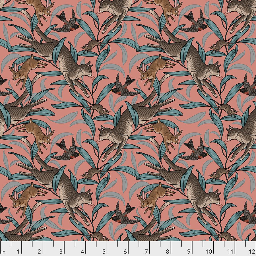 Free Spirit Cat Tales by Rachel Hauer PWRH003 NECTAR On the Prowl $10.99/yd PREORDER DUE NOV/DEC '20