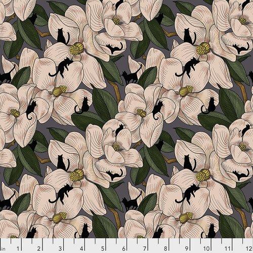 Free Spirit Cat Tales by Rachel Hauer PWRH008 NATURAL Magnolia Garden $10.99/yd PREORDER DUE NOV/DEC '20