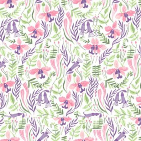 Dear Stella Pink Paradise by Rae Ritchie SRR 1030 White Orchids $10.50/yd