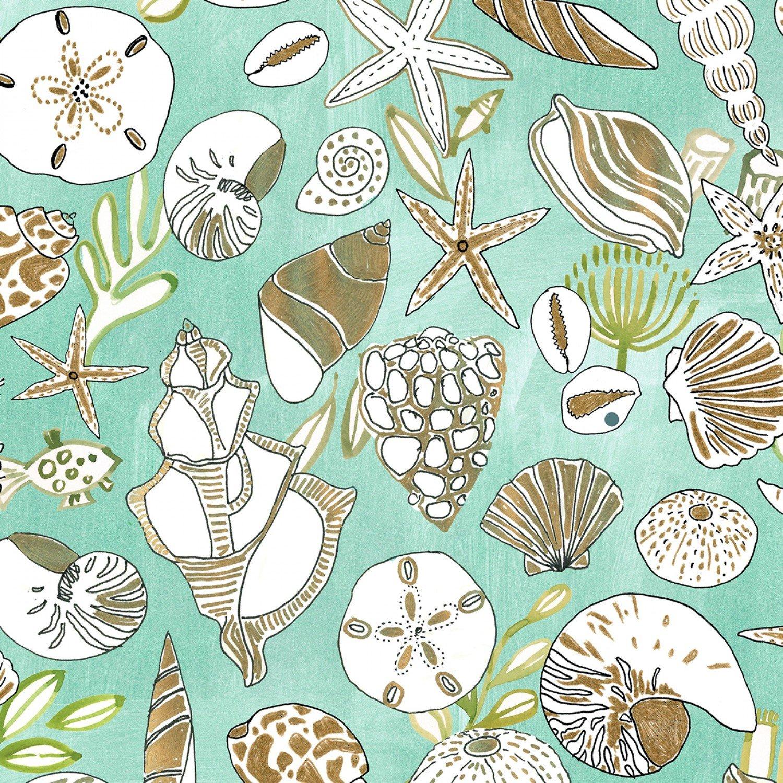 Dear Stella High Seas - Digital by August Wren ST DAW 1369 Shells $11.30/yd