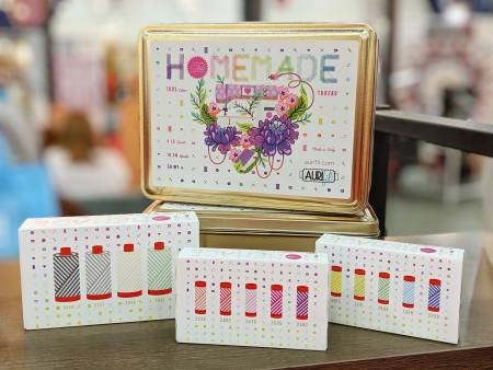 Aurifil Tula Pink Homemade Custom Tin and Three Mini Collections TPHMCTIN $115/tin with 14 spools of thread