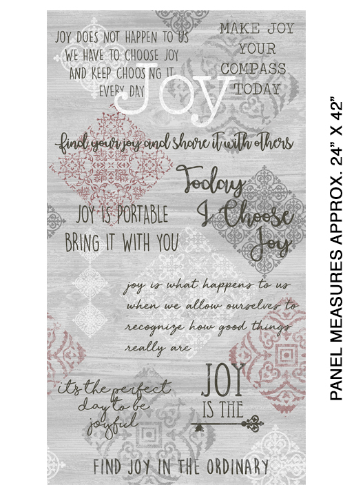 Words To Live By - Joy Panel Grey/Multi