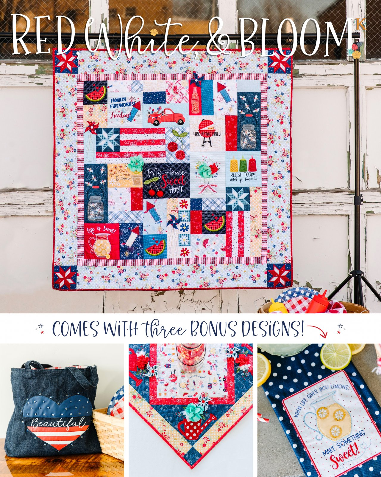 Red, White & Bloom Quilt Pattern