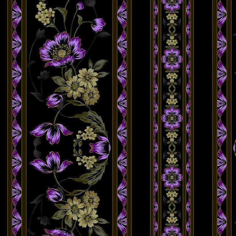 3415-003 Midnight Garden-Border-Violet