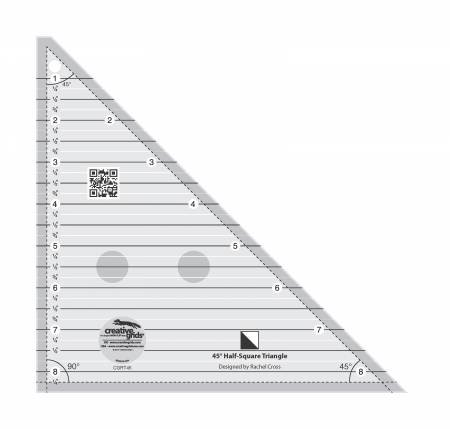 CGRT45 Creative Grids 45 Degree Half-Square Triangle 8-1/2in Quilt Ruler