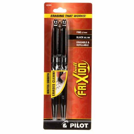 BFX72BLK Frixion Pen Black 2 Pack Fine Point 0.7mm Heat Erase