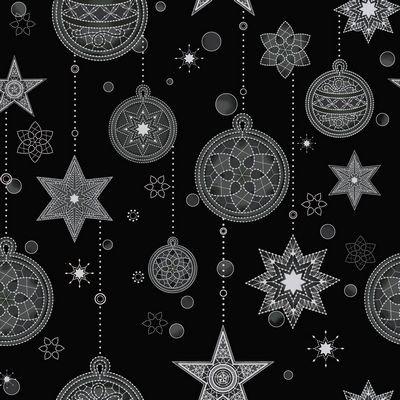 Stof Black W/Silver Ornaments