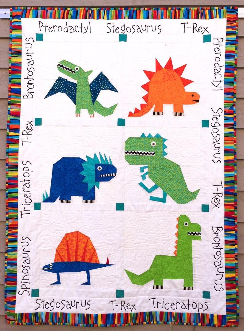 Dinosaur Quilt Paper Pieced Kit