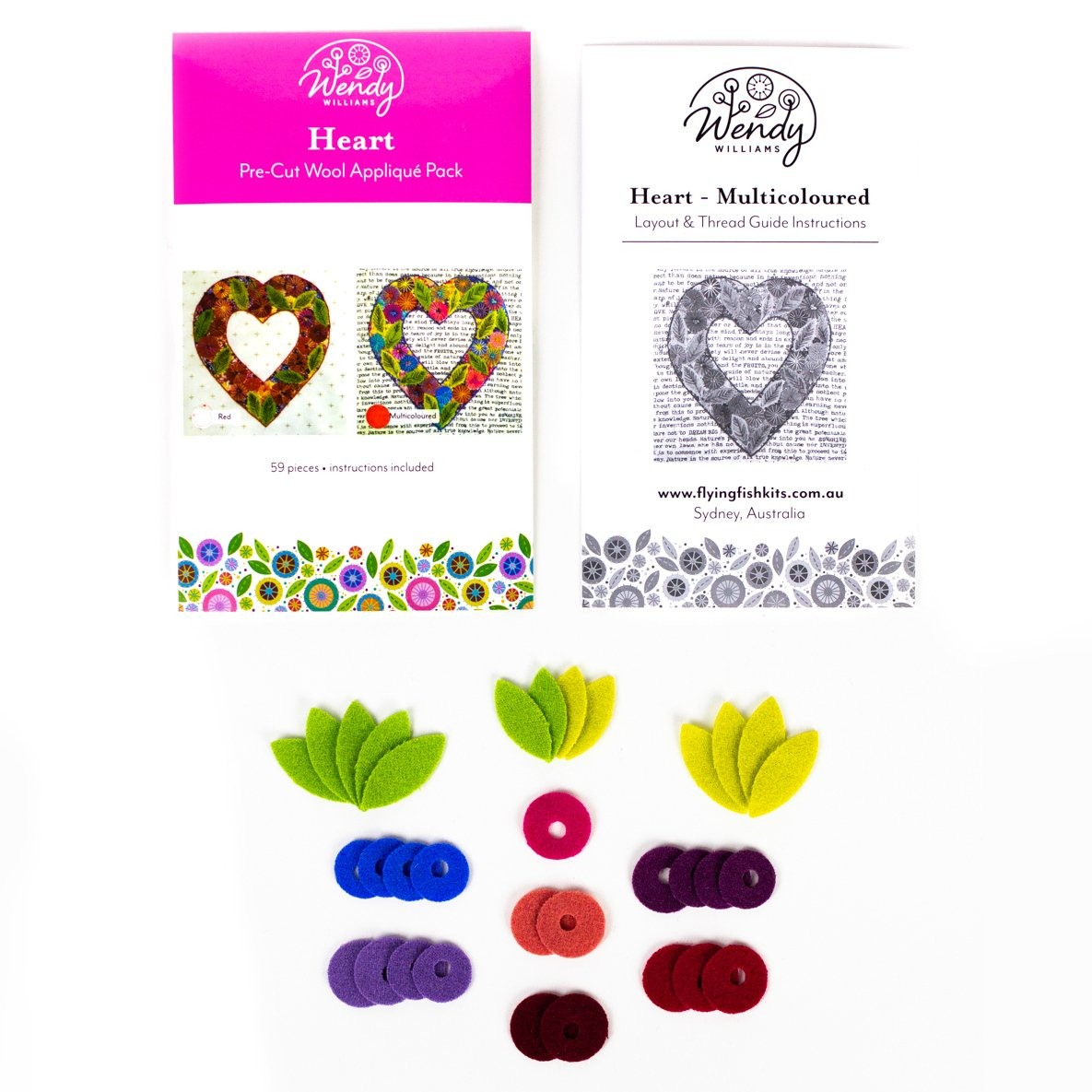 Precut Wool Kit Heart - Multi