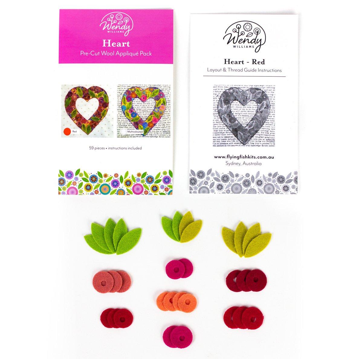 Precut Wool Kit Heart - Red