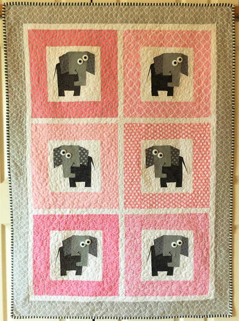 Enough Elephants Quilt & Pillow