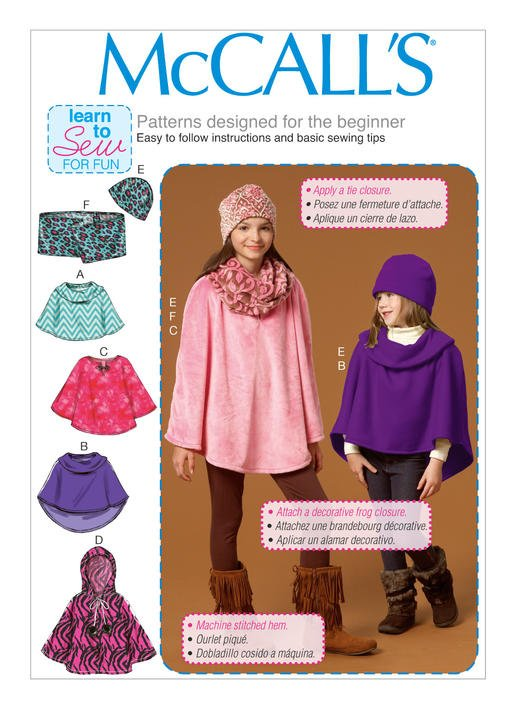 McCalls Childrens/Girls Poncho Hat and Scarf