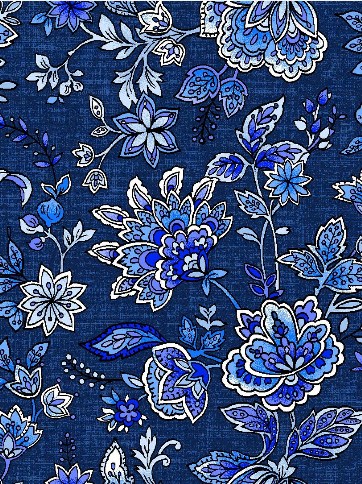 Peacocks in Blue Jacobean Flower Dk Blue