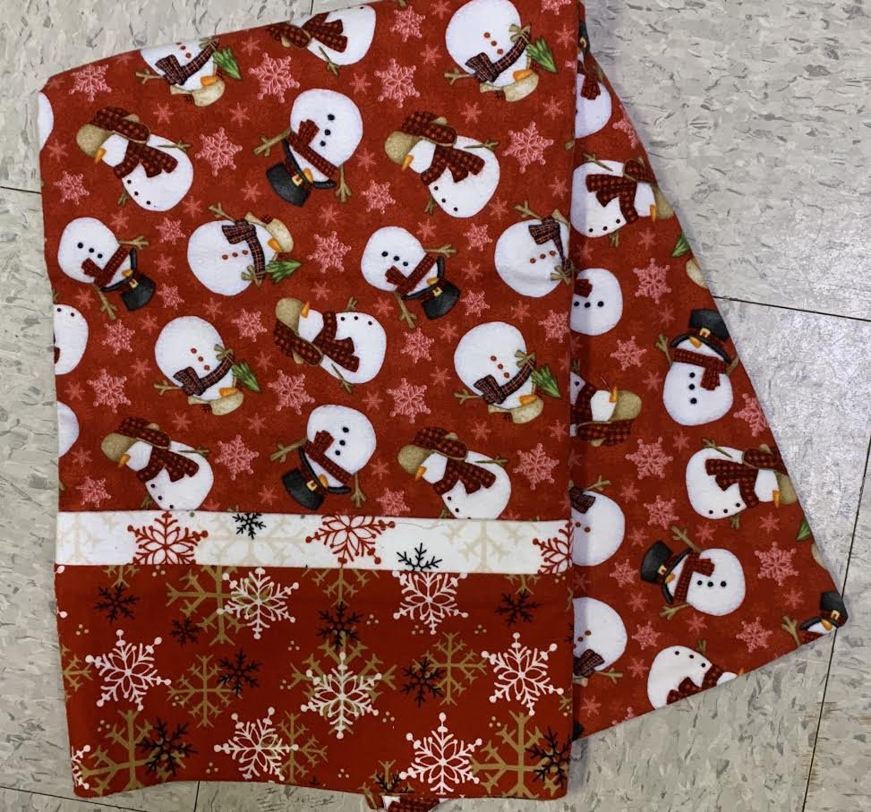 Flannel Christmas Gnomes Red Pillow Case